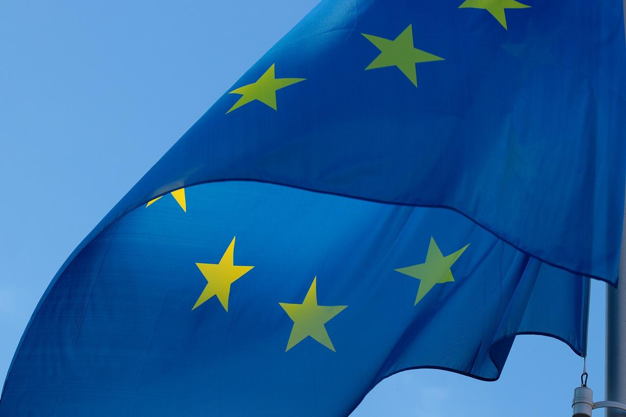 Blue EU flag fluttering in the wind