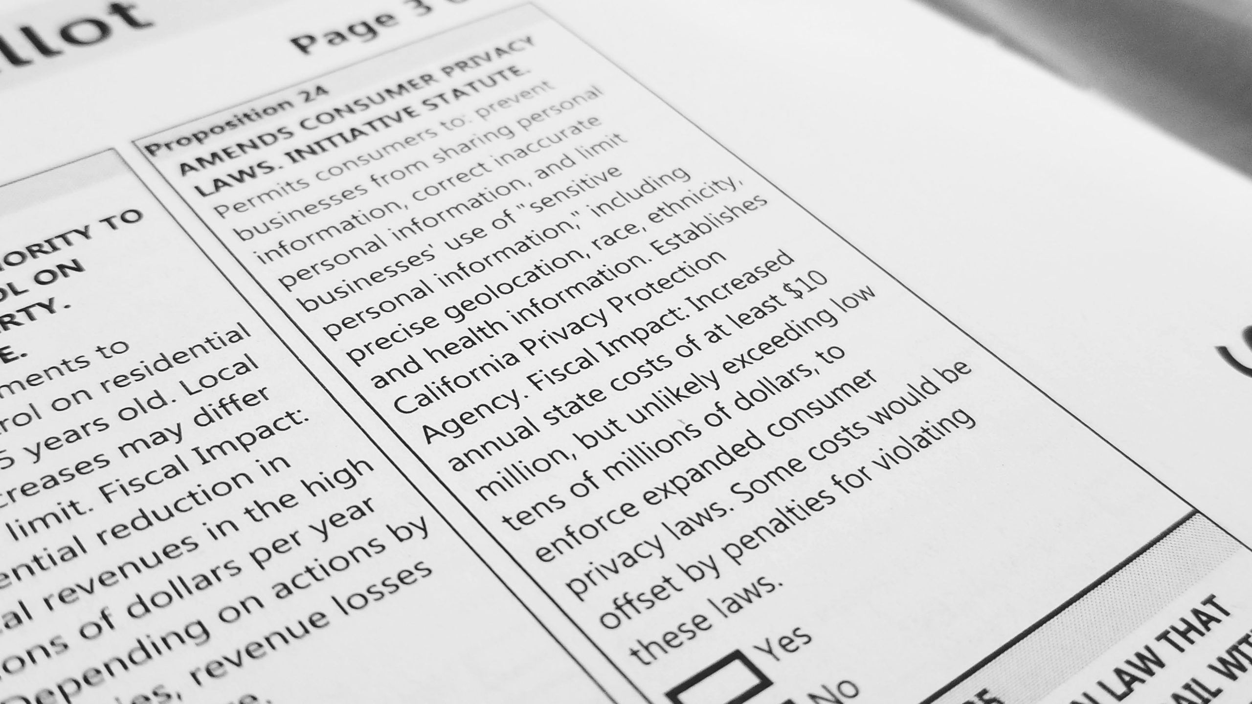 Offset angled photo of Proposition 24 from the 2020 California Voter's Guide