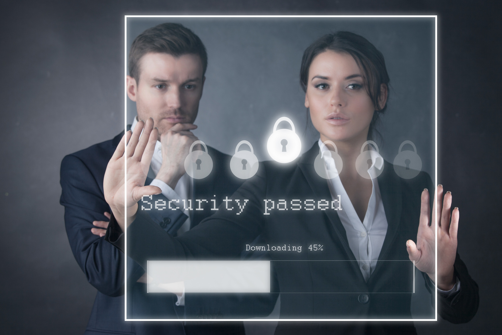 Individuals behind a password screen.