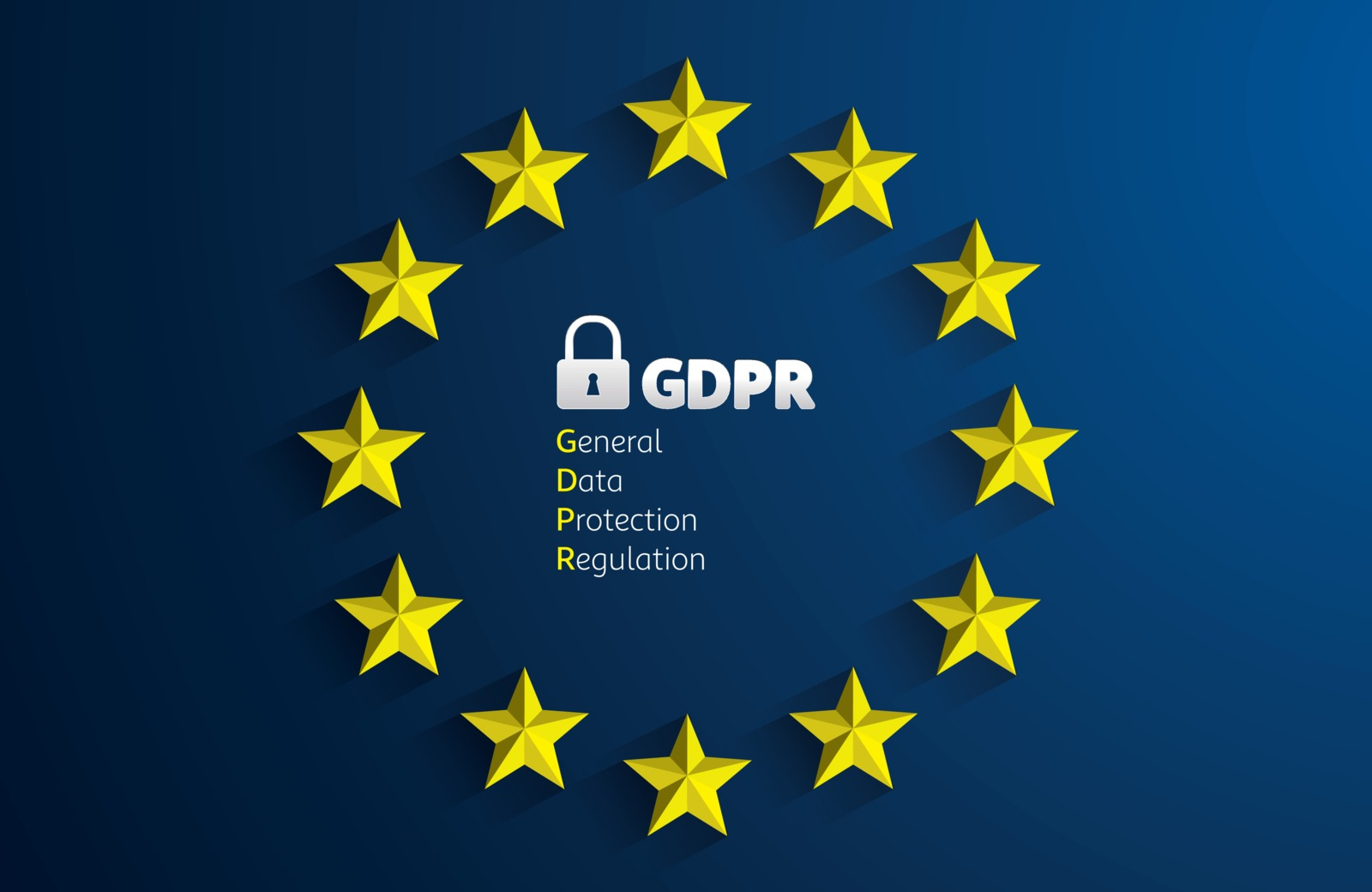 Group of stars around the text GDPR