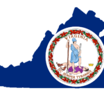 Image of virginia state and shield. Virginia has a new data privacy law.