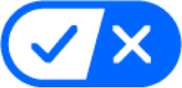California Consumer Privacy Act (CCPA) Opt-Out Icon, appears as a blue outlined oval toggle icon bisected with a blue checkmark on white background on the left and a white 'X' on blue background on the right.